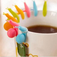 Wholesale Strainer Set - 5 PCS lot Cute Snail Shape Silicone Tea Bag Holder Cup Mug Candy Colors Gift Set GOOD Random Color!