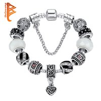Wholesale Antique Glass Jewelry - BELAWANG 925 Antique Silver Charm Beads Bracelet With Clear Murano Glass&Crystal Heart Charm Fit Original Bracelet for Women Jewelry 17-21cm