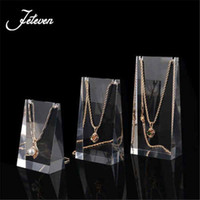 Wholesale Earring Displays Stands Holder - 3pcs set Clear Acrylic Pendant Display Holder Necklace Earrings Exhibit Stand Rack Jewellery Holders Shelf Window Showcase