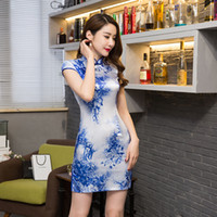 Wholesale oriental print dress - Shanghai Story chinese dress Short sleeve cheongsam qipao Low-profit Sexy Chinese traditional dress oriental style dress