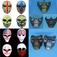 Wholesale Skull Mask For Masquerade - New Skeleton Skull Plastic Full Face Mask Masquerade Outdoor Hunting Tactical CS Games Battlefield Mask Shield Decoration