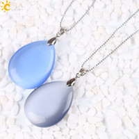 Wholesale Drop Gem Necklace - CSJA Big Blue Grey Cat Eye Opal Gem Stone Costume Bubble Charms Necklaces Water Drop Pendants Classic Women Jewelry Beaded Chain E160 B