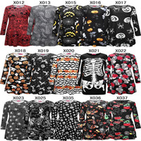 Wholesale Women Pumpkin - 2017 New Fashion Women girls Elegant Chrismas Halloween pumpkin skull Mini Dress Long Sleeve Bodycon skull Skeleton Spring Party Dresses