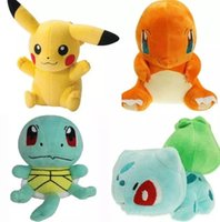 Wholesale 15cm Squirtle Charmander Bulbasaur Pikachu Plush dolls cartoon Poke plush toys poke Stuffed animals toys soft Christmas toys