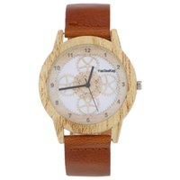 Wholesale Wooden Pointer - Fashion wooden dial Design men women watches black Pointer hollow out Pattern Luxury PU leather quartz casual wristwatches Dress gifts 2017