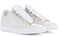 erkekler için en rahat tarz toptan satış-Toptan En İyi Baskı Kalite düşük Top Arena erkekler Sneaker Ayakkabı Kanye West Hakiki Deri Rahat Yürüyüş Fransa Tarzı Tasarımcı Eğitmenler Düz