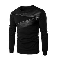 Wholesale Wholesale Sweat Suits Men - Wholesale- Long Sleeve Mens Hip Hop Leather Hoodies And Sweatshirts 5XL Sweat Sporting Suits Male Tracksuit Zipper Pullovers 2016 Winter