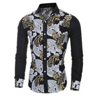 Wholesale Dress Trendy Tops - New Trendy Printing Leisure Men's Dress Shirts Long Sleeve Turn Down Dress Shirts Men Autumn Clothes Casual Tops Hot Sales