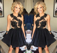 Wholesale Dresses Grade Graduation - 2017 Princess 8th Grade Graduation Dresses Beaded Ball Gown Short Mini Homecoming Dress Little Black Cocktail Party Gowns Juniors Sweet 16