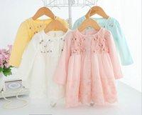 Wholesale Gauze Breast - Toddler kids cute dress lace baby girls stereo flowers gauze dress infants long sleeve single-breasted princess dress baby clothing C1008