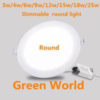 escorregador de luz recesso ultra fino venda por atacado-Painel Downlight ultra fino do diodo emissor de luz de Dimmable 3w / 4w / 6w / 9 / 12w / 15w / 18w / 25W Painel redondo Downlight do diodo emissor de luz de luz AC85-265V do diodo emissor de luz SMD2835