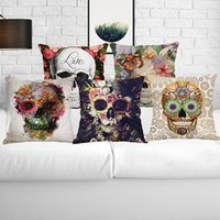 Wholesale Cushion Cover Cores - 45*45cm Digital Printing Personality Skull Pillowcases Decorative Pillow Case Cushion Cover Home Decor No Core