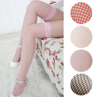Wholesale Yellow Thigh High Socks - Wholesale- Solid Colors Lady Sexy Fishnet Lace Spandex Top Mesh Thigh High Stockings Knee Socks Long Tights Pantyhose For Woman