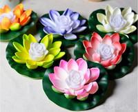 ingrosso ha portato loto artificiale-LED Lotus Lamp 7 colori che cambiano LED artificiale fiore di loto galleggiante acqua pianta decorazioni per la festa nuziale forniture spedizione gratuita