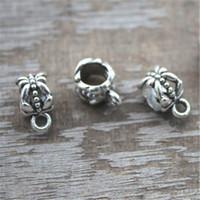 tibetischen charme armband schmuck großhandel-50pcs Silber Tibetan Bail Bead Fit europäischen Charme Armband Schmuck 11x6mm Lochgröße 5,2 mm
