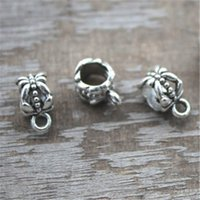 Wholesale European Bail Beads - 50pcs Silver Tibetan Bail Bead Fit European Charm Bracelet Jewelry 11x6mm hole size 5.2mm