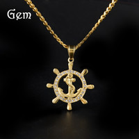 Hiphop Rudder Pingente Colares para Homens Gold Plated Anchor Charm Hiphop Jóias Navy Style Luxury Party Accessories Wholesale