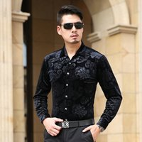 Wholesale Velours Dress - Wholesale- New Brand 2016 Luxury Mens Velours Silk Shirts Formal Dress Shirt Slim Fit High Quality M-3XL