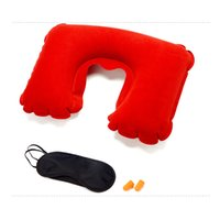 Wholesale Head Rest Cushions - U-Shaped Pillow+eyeshade+Earplugs Portable Pocket Inflatable Sweat absorption Breathable Car Head Neck Rest Air Cushion for Travel