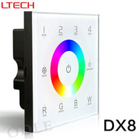 Wholesale 24v wall dimmer - DX8 100-240V Wireless 2.4GHz DMX512 Console Master Touch Panel RF Dimmer Controller Wall-mounted 4 zones Control RGB RGBW RGBWW