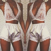 Wholesale Babydoll Clothing - 2017 Sexy Lingerie Pajamas Babydoll for womens clothes V Neck Sleepwear Lace Underwear Nightwear with Shorts For Adult Bedding