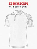 camisa multi camo al por mayor-Camisa de combate de verano Tactical Short Sleeves Top Camisas de polo Caza Viste camuflaje Rana Camisas BDU Army Combat Clothing Camo Camisa