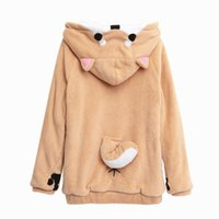 Wholesale Lovely Japanese - Wholesale- Harajuku Japanese Kawaii Hoodies Women Sweatshirts With Ears Cute Doge Muco Winter Plush Lovely Muco Anime Hooded Hoodies