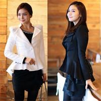 Wholesale One Button Swallow Tail Blazer - Autumn Women Blazer Cardigan Jacket Coat Swallow Tail Power Shoulder Blazers Black White Women Clothes One button Blazer S - XL