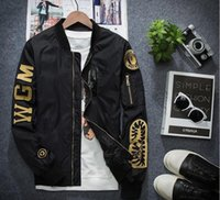 Wholesale Mens Coats Xl Usa - Mens MA1 Bomber Jacket USA Kanye West Hip Hop Male Windbreaker Jacket coat jaqueta masculina veste homme brand Baseball uniform
