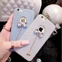 Wholesale Diamond Bling Bow Case - For iPhone6 6s 7 Plus Rhinestone Cases Diamond Skin Glitter DIY Bling Cover With Cute Bow Pendant