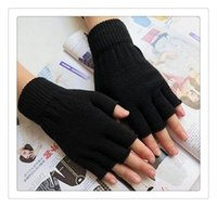 Wholesale Hot Gloves Unisex Plain Basic Hot Fingerless Winter Knitted Gloves Warm Finger Cover Fingerless Gloves For Women