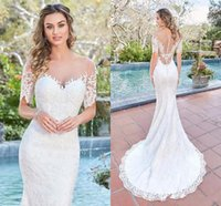 Wholesale Gorgeous Mermaid Beach Wedding Dresses - 2017 Gorgeous Short Sleeves Lace Mermaid Wedding Dresses Elegant Sheer Jewel Neck Illusion Back Beach Wedding Dresse Cheap Long Bridal Gowns