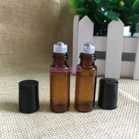 Wholesale Wholesale Mini Glass Containers - 500pcs 5ml Amber Roll On Roller Bottles for Essential Oils Refillable Perfume Glass Bottle Mini 5 ml Containers with Black Lid
