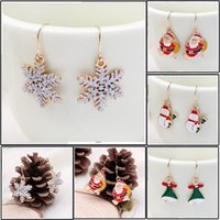 Wholesale Gold Plated Jewellry - Eardrop Fashion Christmas tree & snowflake earrings boucle doreille bijoux femme stud Christmas gifts for women jewellry Facotry selling