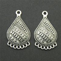 Wholesale Antique Filigree Charm Findings - 10pcs Antique Silver Tear Drop Flower Hollow Filigree Pendant Charm Connector Necklace Jewelry Finding DIY A2223