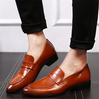 Wholesale Rough Leather Shoes - British style is not tied with a set of feet scratched pointed men's casual shoes non-slip rubber sole rough with men's shoes