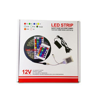 Wholesale Remote Leds - 5M 300 Leds RGB led 5050 strip lights Set + 44 keys ir remote controller + power supply adapter