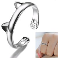 Wholesale open ring cat - 2016 New Women's Cute Cat Ear Claw Open Ring Silver Plated Finger Animal Jewelry 4RT