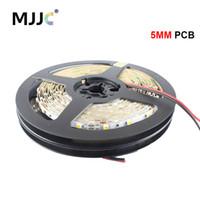 pcb white led пожелтение оптовых-MJJC 5 мм PCB 12V светодиодные полосы узкая сторона белый / теплый белый / красный / желтый / синий / зеленый 60LEDs / m smd3528 полосы света 10 м / рулон