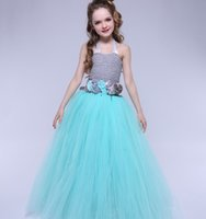 Wholesale Girl S Halter Pageant Dress - Turquoise Flower Tutu Dress For Girls Party Ball Gown Dress Children Wedding Birthday Pageant Princess Dress Tulle Kids Clothes