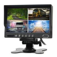 lcd ekran sistemi toptan satış-7 inç Dikiz Monitör Araba Monitör 4 Bölünmüş Quad LCD Ekran Ekran için DC12V-24V Ekran