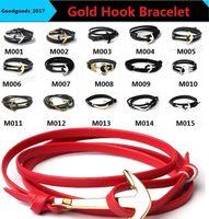 Wholesale Anchor Hook Bracelet - Leather bracelet fashion Gold Hook Bracelet personality retro retro anchor double-sided leather hand-woven jewelry anchor bracelet M0248