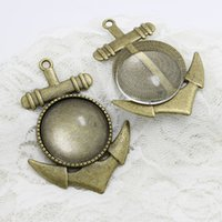 Wholesale Cabochon Ring Shapes - Antique Bronze Alloy Anchor Shape 48*67mm (Fit 30mm Dia) Round Cabochon Pendant Settings+Clear Glass Cabochons A4008-1