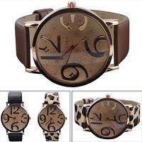 Wholesale Big Strap Leather Watch - Wholesale- Chic 2015 Faux Leather Strap Big Numbers Dial Rose Flower Quartz Watch Women 6ER4