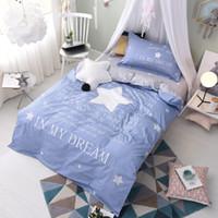 Wholesale Elegant Girl Bedding Sets - 2017 New Arriving Elegant Bed Blue Star Dream Bedding Sets Twin Dovet Cover Set Bed Sheet Comforter Pillow Sham Teen Girl Bedding Bedspreads