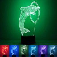 acryl licht tisch großhandel-LED USB-3D Acryl Dolphin Nachtlicht USB Powered 7color LED-Schreibtisch-Tabellen-Licht-Lampen-Weihnachtsgeschenk