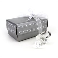 Wholesale Crystal Baby Pacifier Favors - Wedding Favor Baby Shower Favors Crystal Collection Cute Crystal Pacifier Gift Favor With Gift Box WA1870