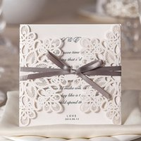 Wholesale Square Invitation Buckles - Square Lace Laser Cut Wedding Invitations Cards Flower Engagement for Marriage Anniversary Baby Shower Birthday Cardstock WM207