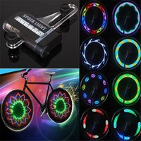 Wholesale Led Lights Spokes - Wholesale- 14 LED Colorful Cycling Bicycle Bike Wheel Signal Tire Spoke Light For Ciclismo 32 Changes New Luces Led Bicicleta Bike Light