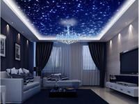 papéis de parede 3d bonitos venda por atacado-Fantasia bonita universo céu zenith teto teto decoração murais 3d teto murais papel de parede